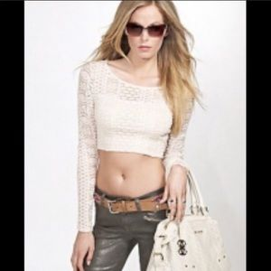 Guess Lace Long Sleeves Crop Top